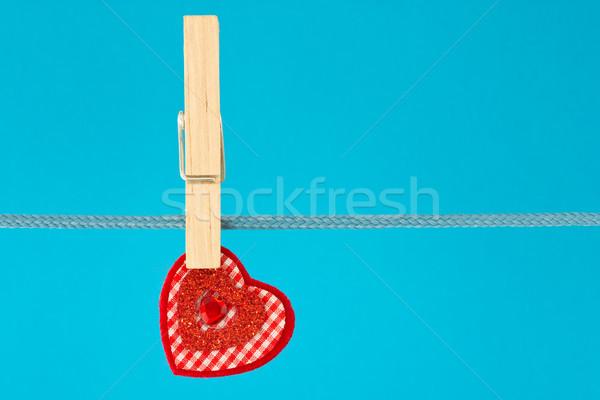decorative heart hung on clothesline Stock photo © Grazvydas