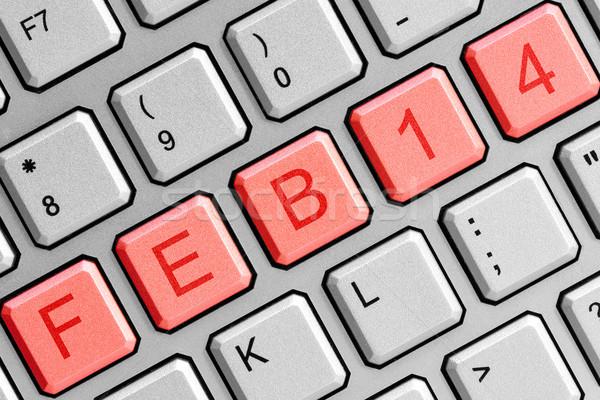 Tarih 14 bilgisayar klavye sevgililer günü teknoloji imzalamak Stok fotoğraf © Grazvydas