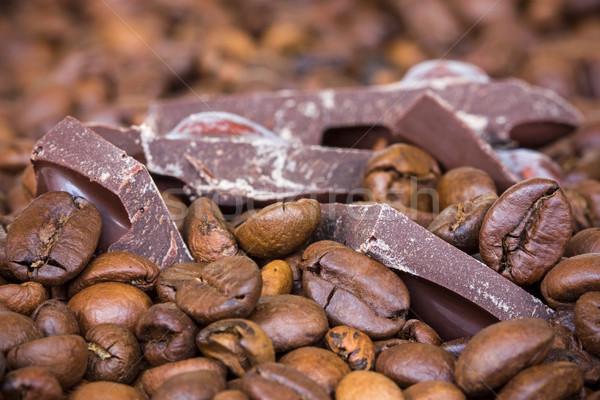 Café chocolate feijões comida fundo Foto stock © Grazvydas