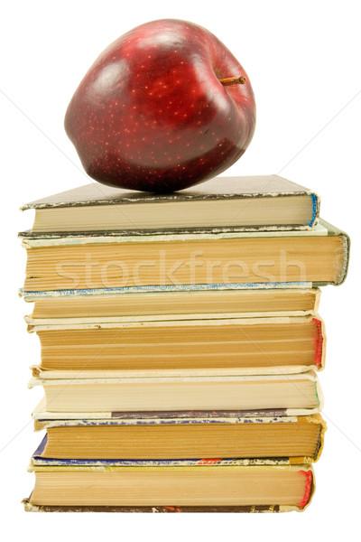 книгах красное яблоко белый школы яблоко образование Сток-фото © Grazvydas