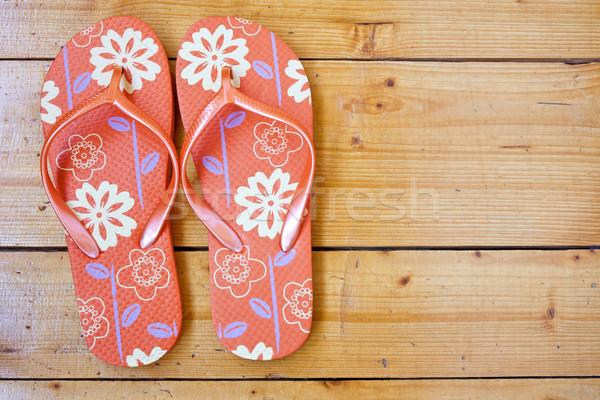 flip flops on the wooden floor Stock photo © Grazvydas