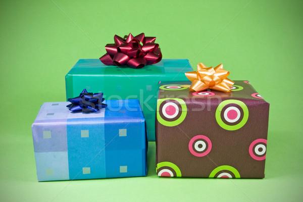 три красочный подарки зеленый настоящее Рождества Сток-фото © Grazvydas