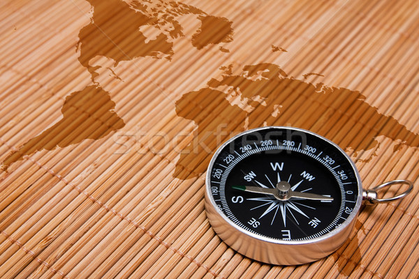 black compass on the abstract world map Stock photo © Grazvydas