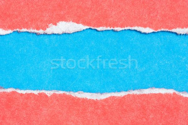 рваной бумаги красный синий цветами бумаги текстуры Сток-фото © Grazvydas