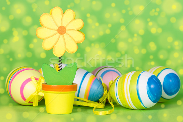 Dekoratív virág húsvéti tojások zöld tojások ünnep Stock fotó © Grazvydas