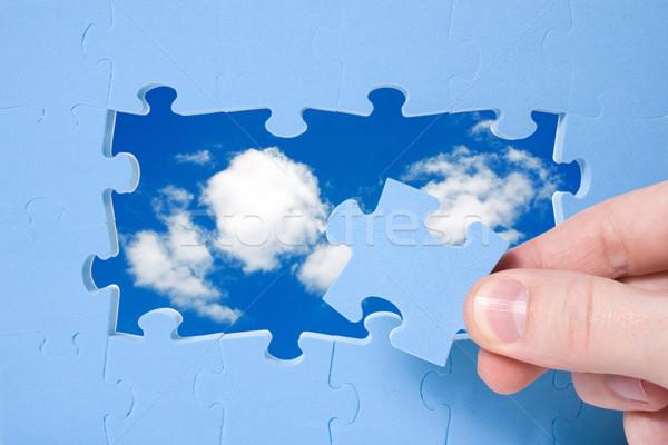 Sostenible desarrollo rompecabezas cielo mano azul Foto stock © Grazvydas