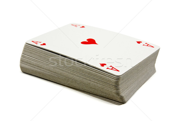 Deck carte isolato bianco casino successo Foto d'archivio © Grazvydas