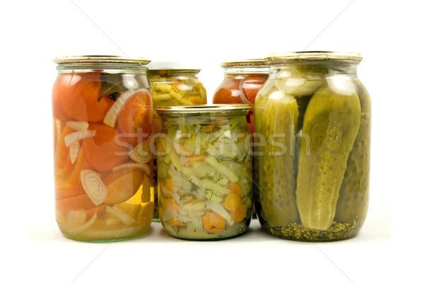 Házi készítésű megőrzött zöldségek izolált fehér gyümölcsök Stock fotó © Grazvydas