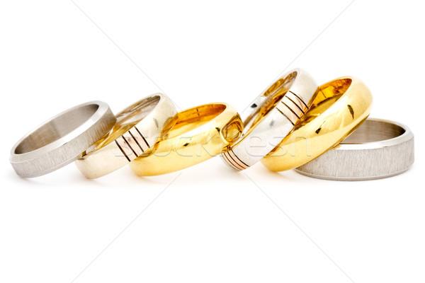 Argento anelli isolato bianco oro Foto d'archivio © Grazvydas