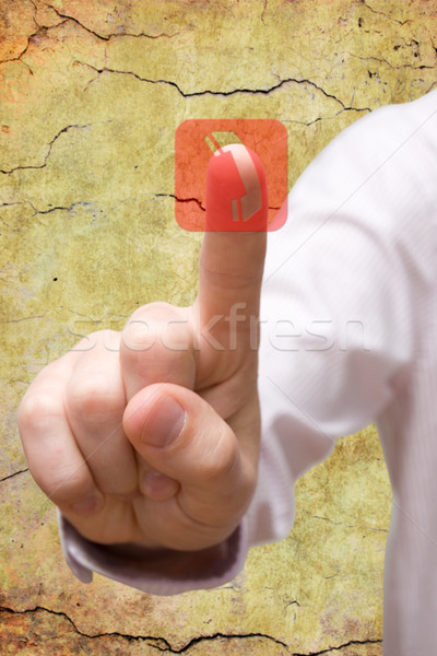 hand pressing telephone symbol Stock photo © Grazvydas