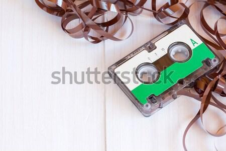 Audio cassette geïsoleerd witte muziek Stockfoto © Grazvydas
