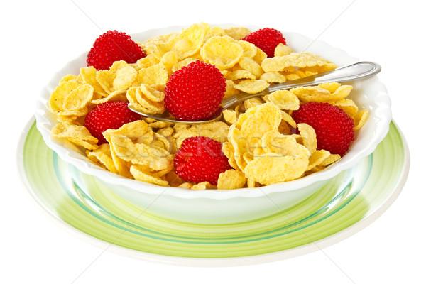 Bowl of corn flakes with berries Stock photo © Grazvydas