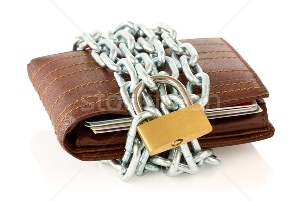 Stock photo: Wallet in chains with padlock