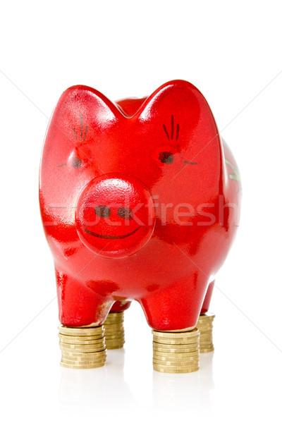 Piggy bank em pé moedas vermelho negócio dinheiro Foto stock © Grazvydas