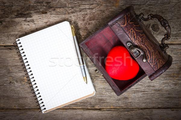 Szív doboz notebook toll piros fapadló Stock fotó © Grazvydas