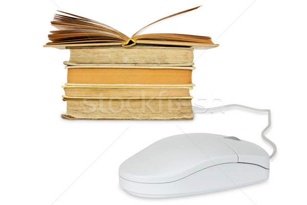 Компьютерная мышь книгах белый компьютер интернет Сток-фото © Grazvydas