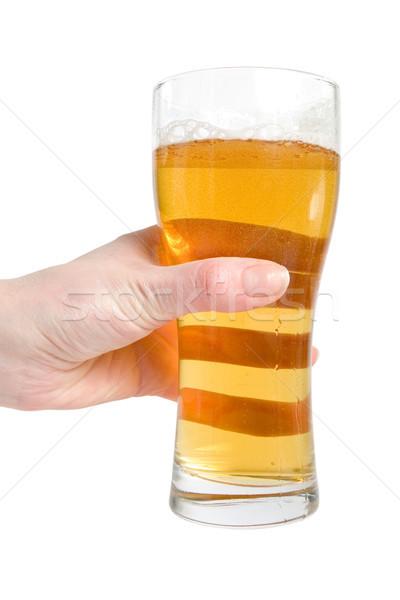Kadın el cam alman birası bira Stok fotoğraf © Grazvydas