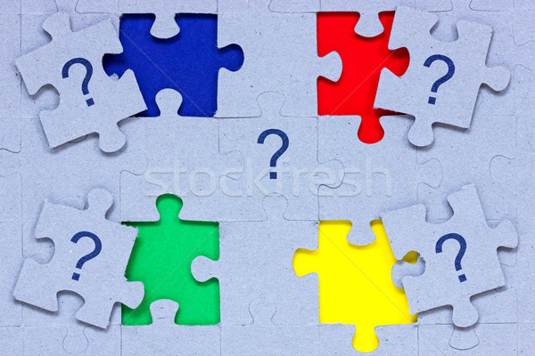 Puzzle punti interrogativi rosso questione concetto Foto d'archivio © Grazvydas
