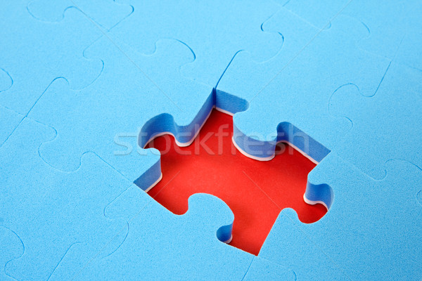 blue puzzle  with one piece missing Stock photo © Grazvydas
