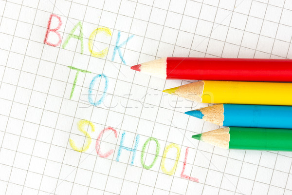 'Back to school' text on squared paper Stock photo © Grazvydas