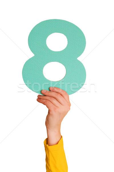 Szám nyolc kéz terv oktatás jegyzet Stock fotó © Grazvydas