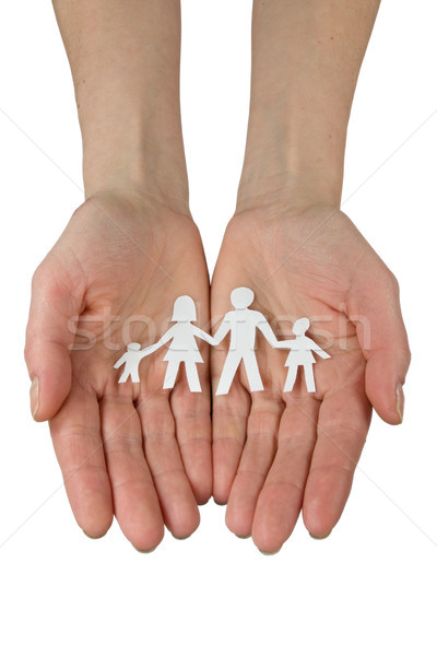 hands with paper chain of family Stock photo © Grazvydas