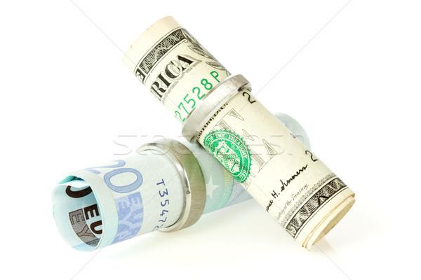 деньги обручальными кольцами доллара евро свадьба наличных Сток-фото © Grazvydas
