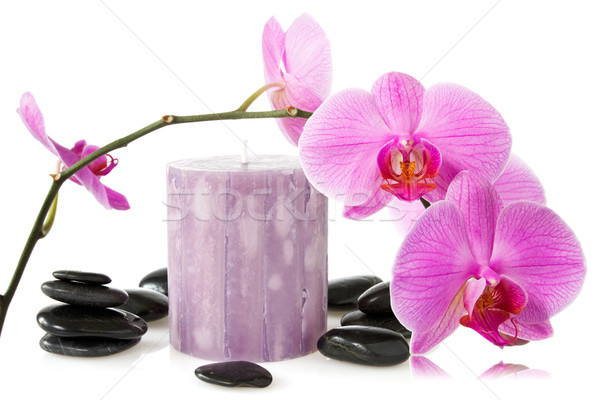 orchid,aromatic candle and black stones  Stock photo © Grazvydas
