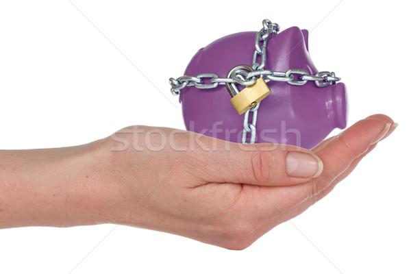 Trancado mão cadeado cadeia isolado Foto stock © Grazvydas