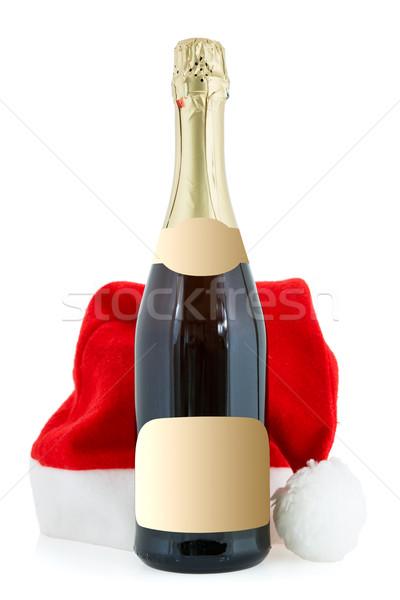 Champagne bottiglia Hat bianco rosso Foto d'archivio © Grazvydas