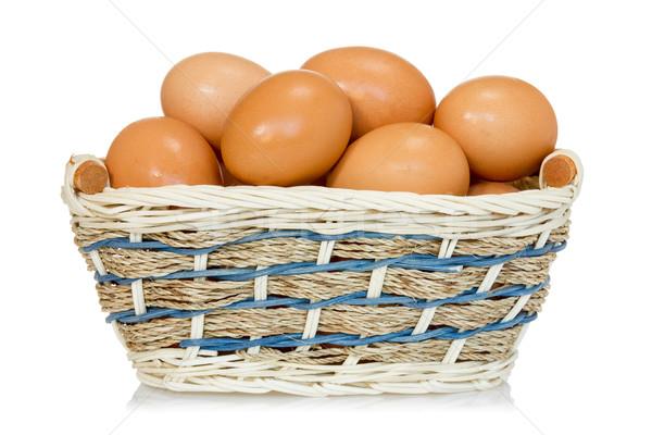 Eggs  in a woven basket Stock photo © Grazvydas