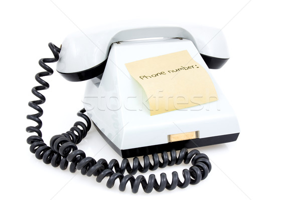 Witte telefoon sticky note telefoon aantal business Stockfoto © Grazvydas