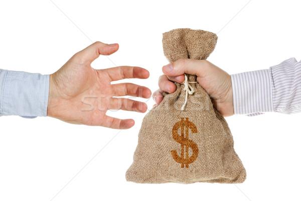 Kéz pénz táska izolált fehér üzlet Stock fotó © Grazvydas