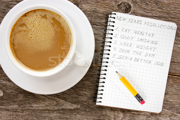 New year resolutions with  coffee cup  Stock photo © Grazvydas