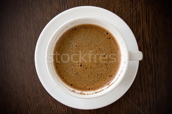 Branco copo café preto mesa de madeira café beber Foto stock © Grazvydas