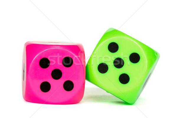 Rose vert poker dés gagnant jeux Photo stock © Grazvydas