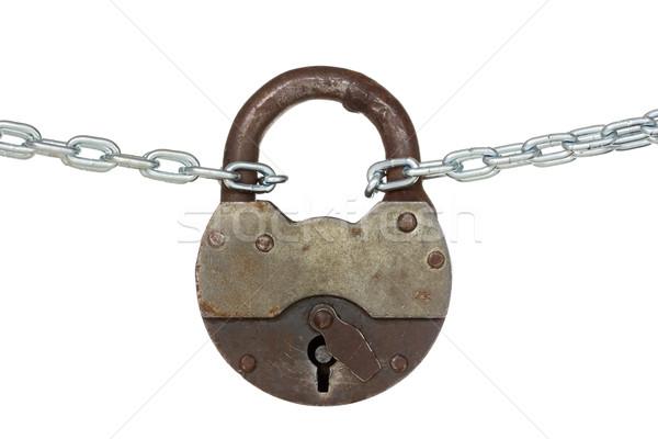 Old padlock and chain Stock photo © Grazvydas