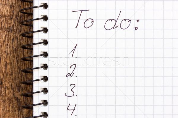 Stock fotó: Teendők · listája · jegyzettömb · dolgok · üzlet · papír · asztal