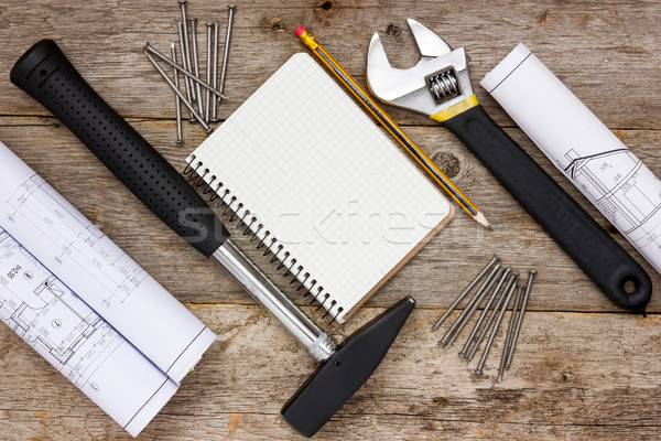 Construction tools with technical drawing Stock photo © Grazvydas