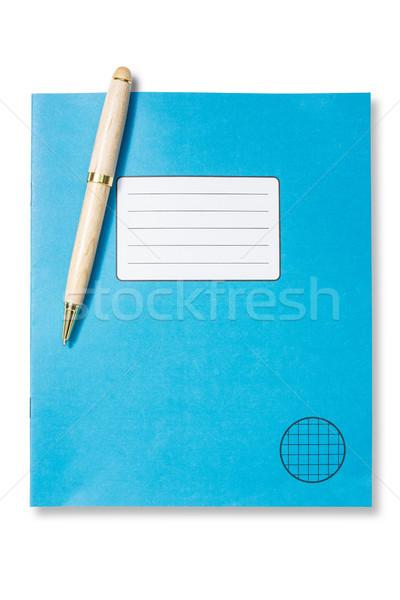 青 練習帳 ペン 孤立した 白 ストックフォト © Grazvydas