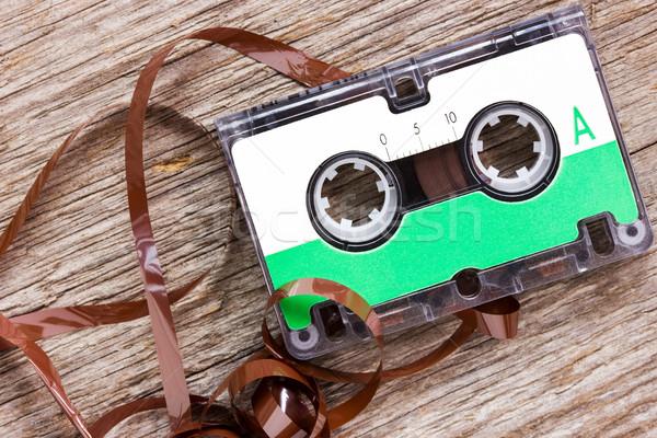 Retro audio cassette  on the wood background Stock photo © Grazvydas