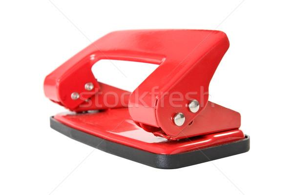 Rosso ufficio carta buco isolato bianco Foto d'archivio © Grazvydas