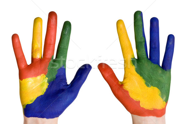 Child hands painted in colorful paints Stock photo © Grazvydas