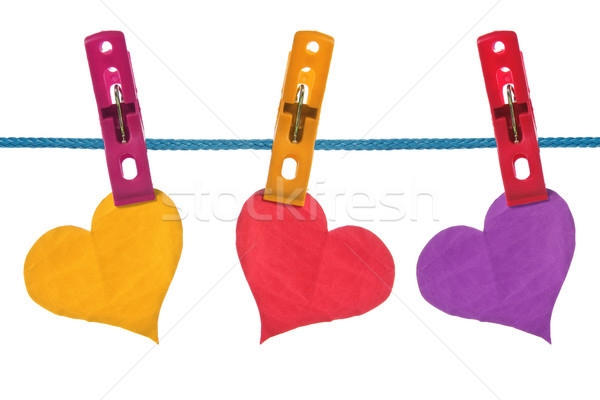 color paper hearts hung on clothesline Stock photo © Grazvydas