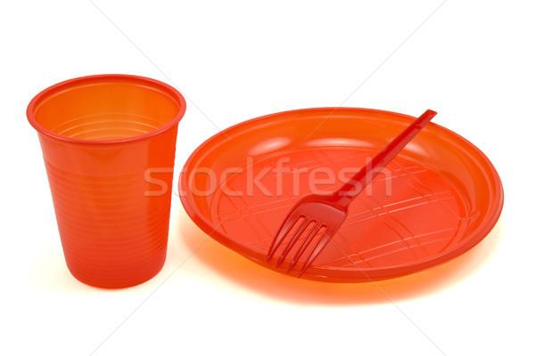Rouge jetable arts de la table isolé blanche café Photo stock © Grazvydas