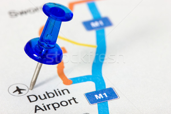 Pushpin  showing Dublin airport location Stock photo © Grazvydas