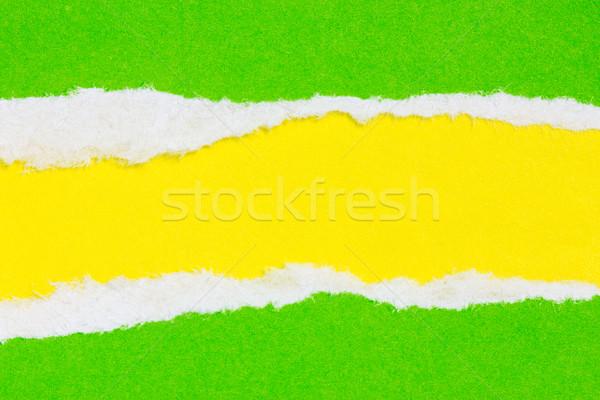 рваной бумаги зеленый желтый цветами бумаги текстуры Сток-фото © Grazvydas