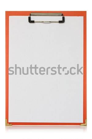 Stock photo: Red clipboard with blank paper sheet