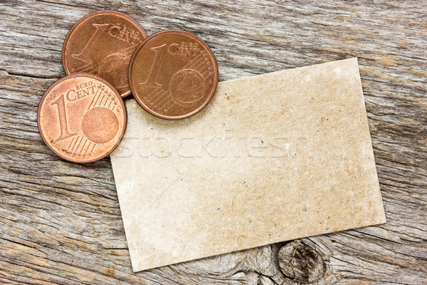 Copper euro cents with paper card  Stock photo © Grazvydas