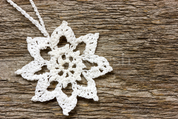 Crochê floco de neve natal enforcamento parede Foto stock © Grazvydas